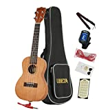 UBETA UC-031EQ Mahogany Acoustic Electric Concert EQ Ukulele Bundle with Gig bag,tuner, picks,aquila strings,electric line, chord card and strap