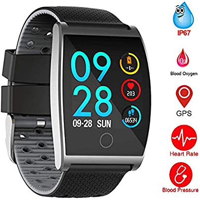 QUARKJK Fitness Tracker Smart Accessories Wristbands Smart Color Screen Calorie Exercise Heart Rate Pedometer Smart Watch Wearable Devices Gray Estimated Price -