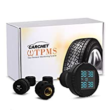 CARCHET TPMS Tyre Pressure Monitoring System+4 External Sensors with Cigarette Lighter