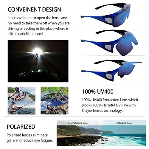 TINHAO Mens Polarized Flip Up Fitover Sunglasses with Mirrored Lenses (Blue, Blue) by TINHAO (Image #3)