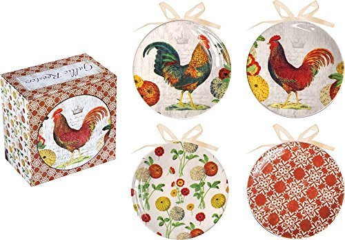 Manual Gallic Roosters Decorative Mini Plate Set of Four by Manual Woodworker