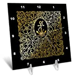 3dRose Russ Billington Nautical Designs - Image of Brass Effect Nautical Anchor and Ornate Frame- not Metal foil - 6x6 Desk Clock (dc_291550_1)