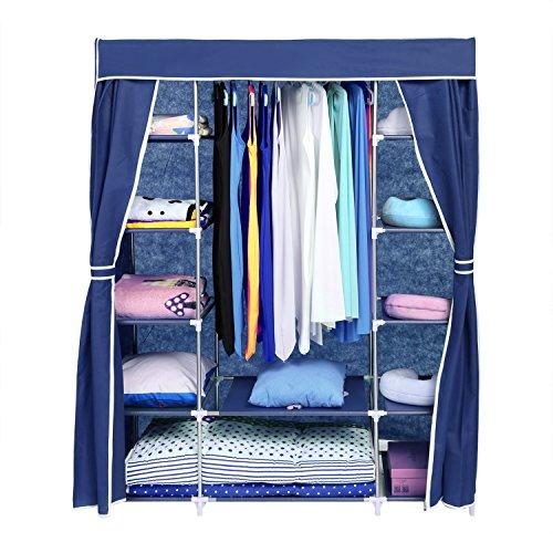 Homdox Faltbare KleiderschrankFaltschrank Garderobenschrank Garderobe Schuhregal Regale + Abdeckung Seitentaschen (Blau-1)