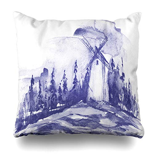 Ahawoso Throw Pillow Cover Pillowcase Wind Blue Agriculture Watercolor Painting Mill Land Istic Bread Countryside Drawing Design Home Decor Design Square Size 20