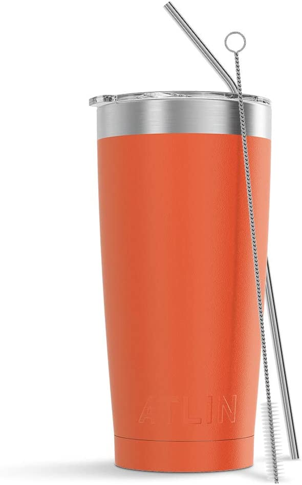 Atlin Tumbler [20 oz. Double Wall Stainless Steel Vacuum Insulation] Travel Mug [Crystal Clear Lid] Water Coffee Cup [Straw Included] (Turquoise) For Home,Office,School, Ice Drink, Hot Beverage