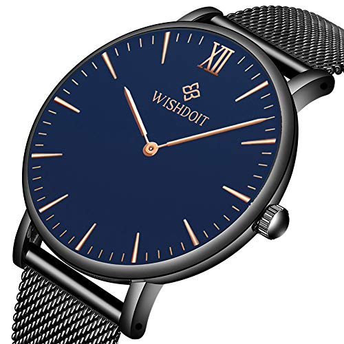 Men's Watch Ultra-Thin Minimalist Black Quartz Watch Fashion Waterproof Watch for Men Stainless Steel with Classic Black Milanese Mesh/Leather Band
