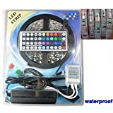 5050 RGB LED Strip Light Kit (normal waterproof) - 300 LEDs 5 meter 44 key IR remote control 12v 5a power supply (100v-240v AC) (IP65 - Normal Waterproof)
