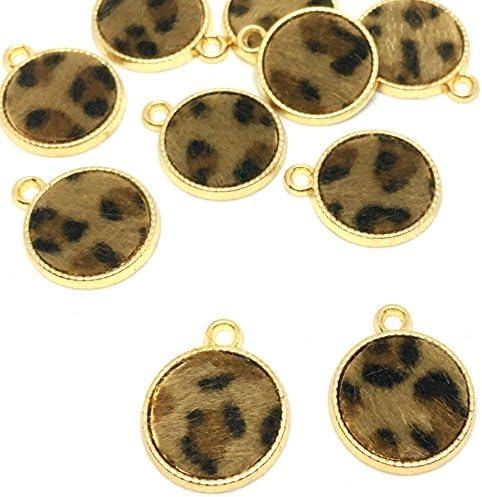 ヒョウ柄のコインチャーム 10個 ゴールドベース アクセサリーパーツ ハンドメイド 手芸材料 ストアーズクラブ