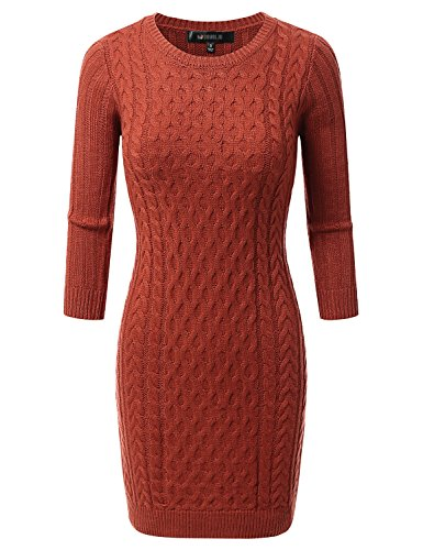 Doublju Womens 3/4 Sleeve Cable Knit Longline Tunic Sweater Dress ORANGE SMALL