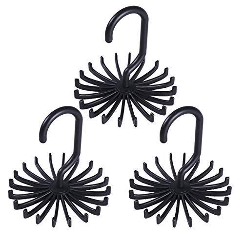 Tinksky Tie Rack Belt Hanger Scarf Holder Hook for Closet Organizers,  360 Degree Rotating 20 Hooks, 3 Pack (Black)