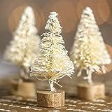 "Lot of 36 - Miniature 1-1/2"" White Sisal Christmas Trees on Wooden Bases"