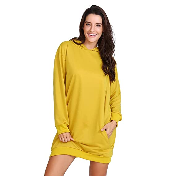 ALIKEEY Harrystore 2018 Mujeres De Color SóLido Casual Fit Straight OtoñO Vestidos De Invierno con Capucha De Color S: Amazon.es: Ropa y accesorios
