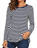 OURS Women's Round Neck Long Sleeve Basic T-Shirt Striped Shirts Tunic Top Blouse (L, Navy Blue)
