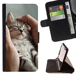 - Cat Cute Kitty - - Monedero pared Design Premium cuero del tir?n magn?tico delgado del caso de la cubierta pata de ca FOR HTC DESIRE 816 Funny House