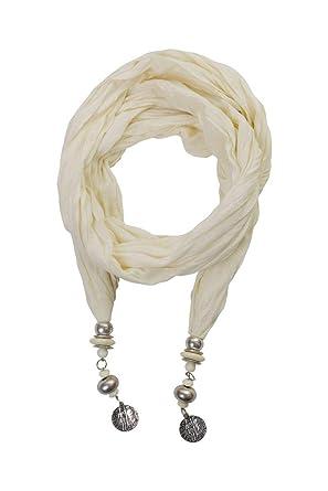 638e240abc23 ColmagBoutique Foulard Écharpe Tendance Pendentif Perles en Métal Uni  (Blanc)