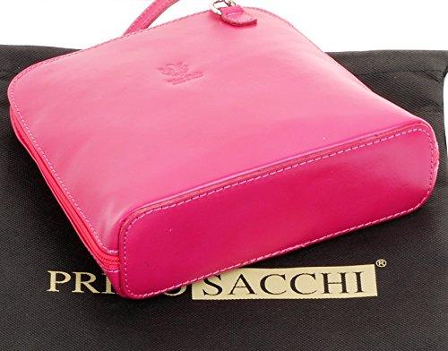 Sacchetto Cross Marca Rosa O Sacchi A Tracolla Pelle Body Include Borsa Primo Small Italiana Di Un Liscia Fucsia Stoccaggio wOaX0XU