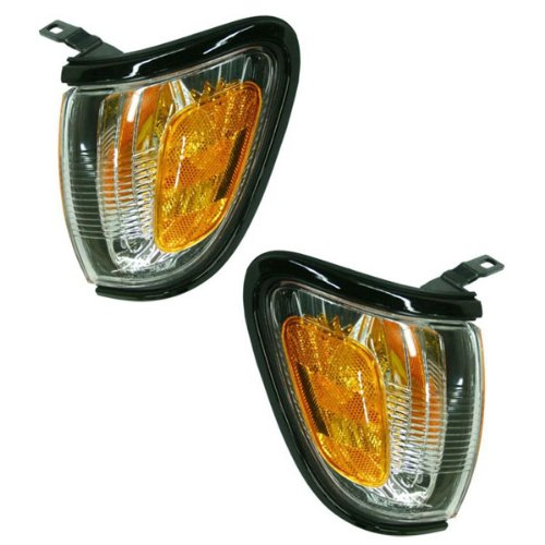 Toyota Tacoma Truck Corner (2001-2002-2003-2004 Toyota Tacoma Pickup Truck Park Corner Lamp (With Black Trim Bezel) Turn Signal Marker Light Pair Set Right Passenger AND Left Driver Side (01 02 03 04))
