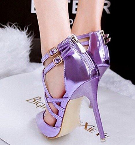 Women sexy pumps heels lady shoes fashion toe thin high female Wedding heel Sandals shoe (7.5, Violet)