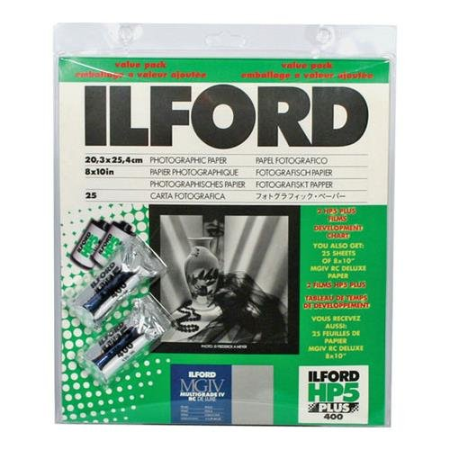 Ilford MGD.1 B&W Paper Pearl 25 sheet Value Pack with 2 rolls HP5 Film by Ilford
