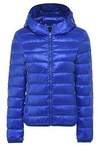 Santimon De Las Mujeres Calentar Invierno Encapuchado Abajo Chaqueta Packable Ligero Cuello Alto Abajo Capa 11 Colores Disponibles Azul Polar
