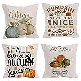 Royalours Pumpkin Spice Autumn Harvest Season Throw Pillow Covers Fall Halloween Cotton Linen Pillow Cover Square Decorative Throw Pillowslip Cushion Cover 18 x 18 Inches (Pumpkin Fall)
