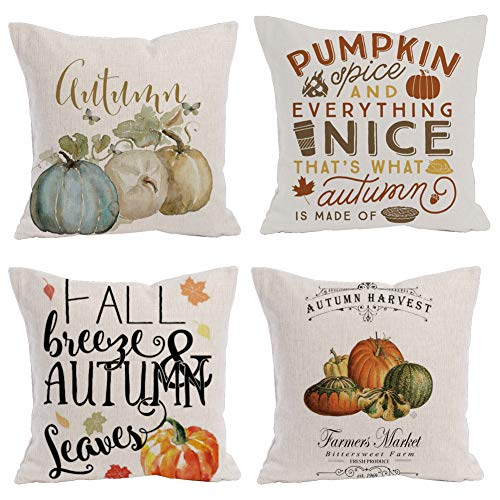 Royalours Pumpkin Spice Autumn Harvest Season Throw Pillow Covers Fall Halloween Pillow Covers Cotton Linen Square Decorative Pillowcase Throw Pillowslip Cushion Cover 18 x 18 Inches (Pumpkin Fall) -