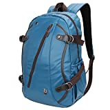 Laptop Backpack - Evecase Waterproof PU Leather School / Daily Backpack fits up to 15.6inch Laptop Chromebook Ultrabook Macbook - Blue