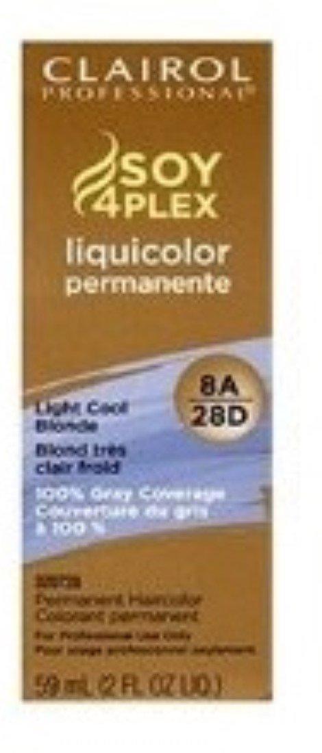 Clairol Professional Liquicolor Perm 8A/28D Light Cool Blonde 2oz (2 Pack)
