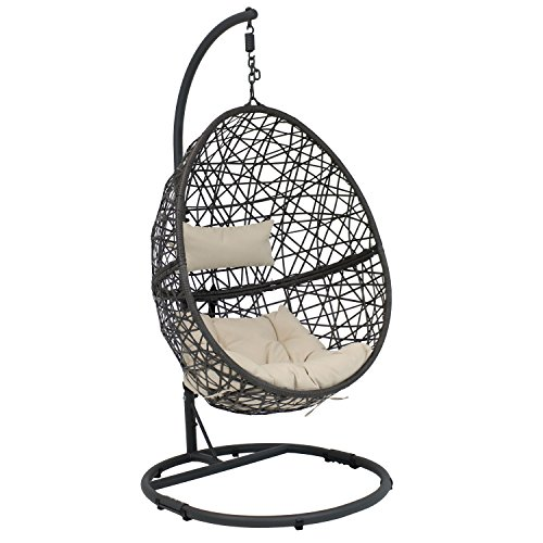 Sunnydaze Caroline Hanging Egg Chair Swing with Steel Stand Set, Resin Wicker, Modern Design, Indoor...