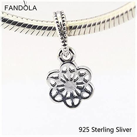 23a4a033b Image Unavailable. Image not available for. Color: 925 Sterling Silver  Beads Fits Pandora Jewelry Bracelets Floral Daisy Lace ...