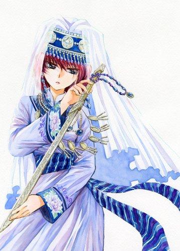美しい衣装に身を包み刀を持つ暁のヨナのイラスト