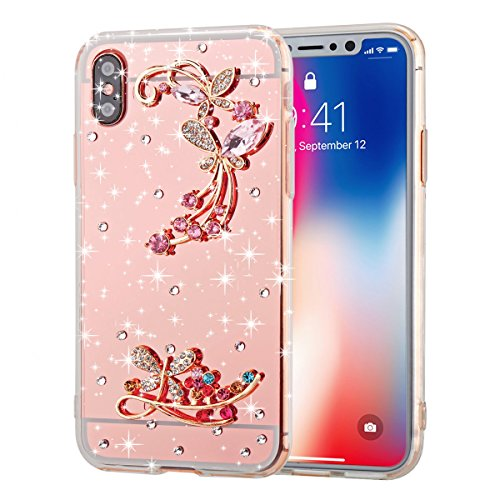 AICEDA Xiaomi Mi 6X Case, Excellence Anti-Shock Excellence Bumper Back Cover, Butterfly Flower