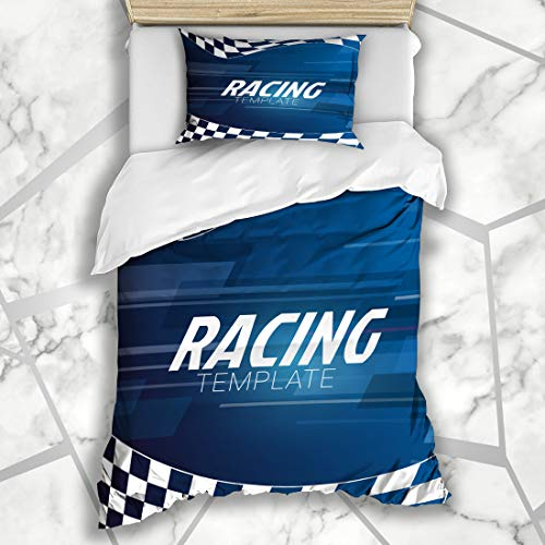 Ahawoso Duvet Cover Sets Twin 68X86 Rally Motocross Racing Checkered On Sports Recreation Event Race Abstract Action Auto Automobile Microfiber Bedding with 1 Pillow Shams