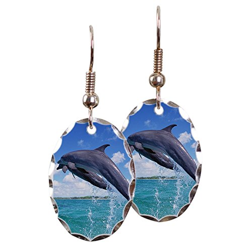 - Earring Oval Charm Dolphins Singing