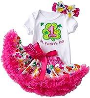 Amberetech 1st St. Patrick's Day Outfit Baby Girls Headband+Bodysuit+Tutu Dress Toddler 3pcs Skirt