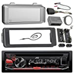 JVC Stereo CD Receiver Marine Radio Bundle 1998 2013 Harley Davidson Touring Flht Flhx Flhtc Adapter Dash Kit Handle Bar Control Module Weathershield Cover Enrock Wire Antenna