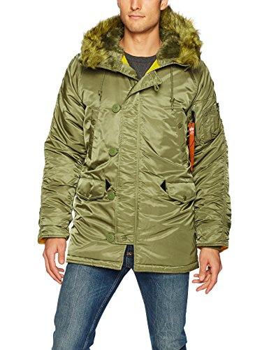 Nylon Vintage Coat - Alpha Industries Men's N-3B Slim-Fit Parka Jacket with Removable Faux-Fur Hood Trim, Vintage Olive/Orange Lining, XXX-Large