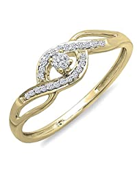 0.15 Carat (ctw) 10k Rose Gold Round Cut Diamond Ladies Engagement Bridal Promise Ring (Size 5)