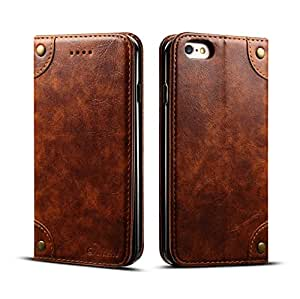 iPhone 6 case with card holder, iPhone 6s Case, Ftongcase Sumptuous Leather [Folio Flip] Easy Open Clasp Crazy Horse Pattern Kickstand Protective [Magnetic Snap] Flip Cover - Brown