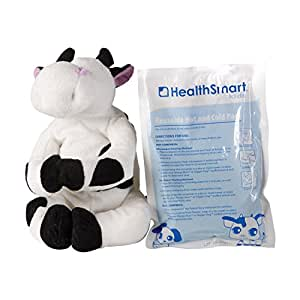 HealthSmart Margo Moo Stuffed Animal Reusable Hot and Cold Compress Therapy Pain Relief Pack for Kids, Black and White
