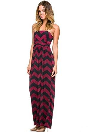 d387093ff011 Chevron Women s Zig Zag Stripe Strapless Pocket Maxi Dress - Wine ...