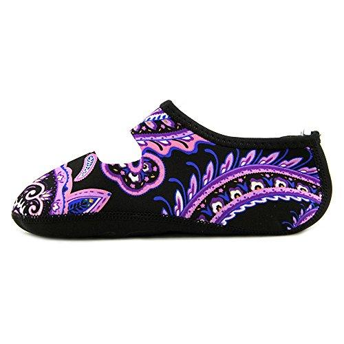 NuFoot Mary Janes Damenschuhe, beste faltbare und flexible Wohnungen, Reise- & Übungsschuhe, Tanzschuhe, Yoga Socken, Hallenschuhe, Hausschuhe lila Paisley