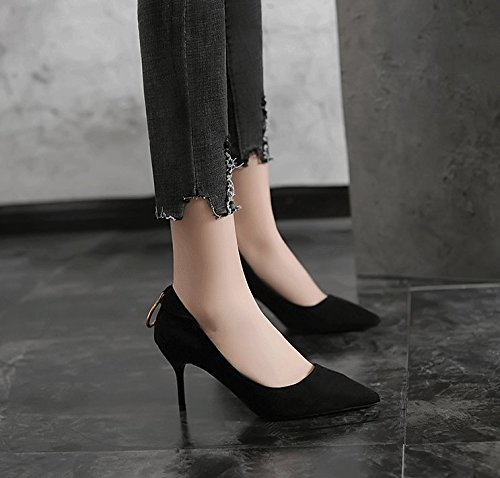 Work Black Heel Work Shoes Lady Head Temperament 35 Interview Single 7Cm Shoes Sharp Heels Fresh Elegant MDRW Fine Spring Leisure TERwqS8q