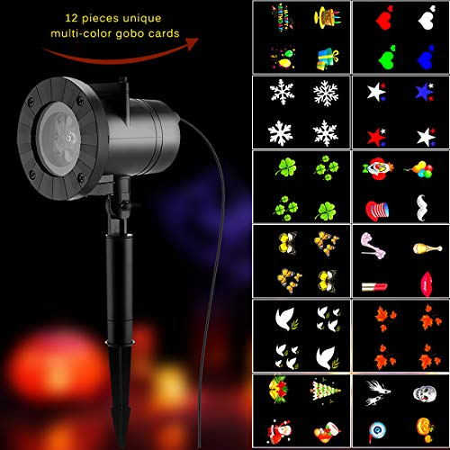 Stage Lighting Effect -Projector Snowflake Light With 12 Gobo Stage Dj Lamp Year Halloween Thanksgiving Party - Stage Effect Lighting Effects Stage Lighting Effect Gobo Projector Sh (Projector Lift System)