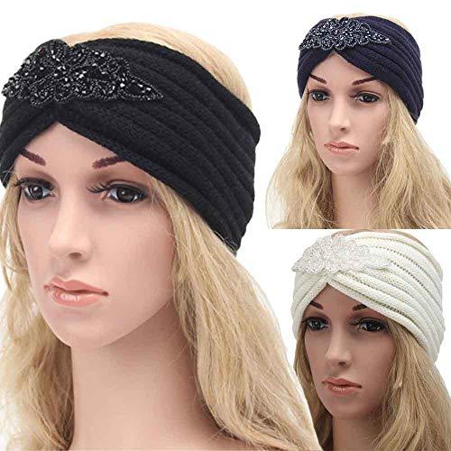 Bohemia Headband, Women Diamond Knitting Handmade Warm Hairband Hair Accessories (Navy) by Appoi Headband Headwrap (Image #2)