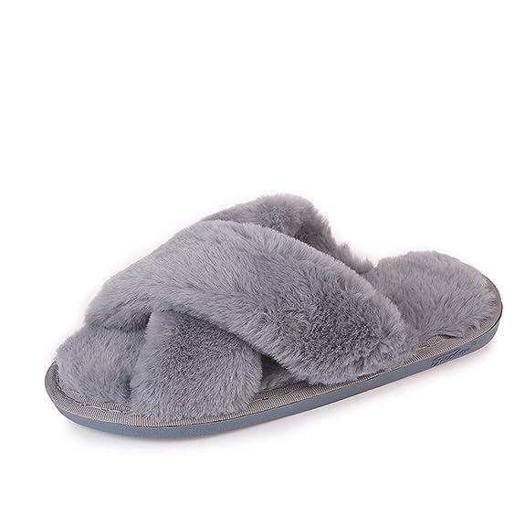 Gray Cross Slippers Fuzzy Fluffy Faux Fur House SPA Cute Open Toe Slippers for Women Girl/Women6-6.5 Men5.5-6