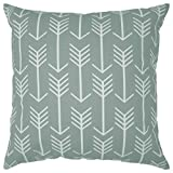 Decorative Pillow Cover - JinStyles Arrow Cotton Canvas Decorative Throw Pillow Cover (Slate Gray and White, 20 x 20 inches)