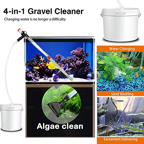 4 in1 Aquarium Gravel Cleaner Water Change Algae Scraper, Fish Tank Sand Wash Pump Kit with Air-Pressing Button and Adjustable Water Flow Controller Clamp for Fish Tank Siphon Vacuum Gravel Cleaning