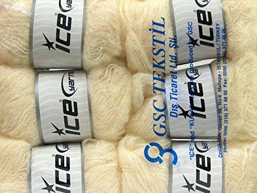 Lot of 6 Skeins Ice Yarns KID MOHAIR PEARL (50% Kid Mohair) Yarn Light Cream