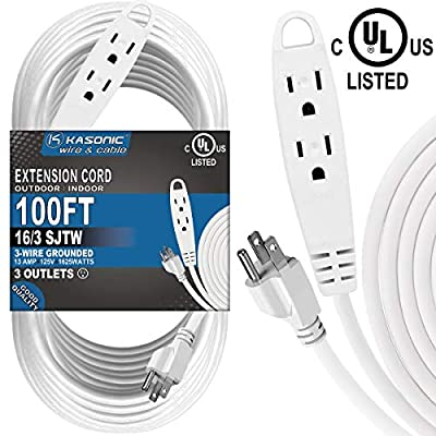 100-Feet 3 Outlet Extension Cord, Kasonic UL Listed, 16/3 SJTW 3-Wire Grounded, 13 Amp 125 V 1625 Watts, Multi-Outlet Indoor/Outdoor Use